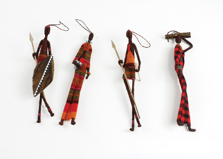 """Get a set of 5 colorful figures that measure 7"""" high. Hang anywhere to add a fun Africa vibe. Made in Kenya."""