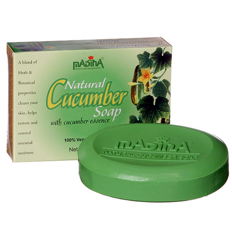 Nature's best. A wonderful blend of herb and botanical properties cleanse your skin, while helping restore and control essential moisture. Combined these make up the many natural ingredients of this Cucumber soap bar. There's a 100% vegetable base, which has a great reaction to most skin types.  INGREDIENTS: Sodium Palmate, Sodium Coco-ate, Water, Glycerine, Cucumber Fruit Extract, Aloe Vera Leaf Juice, Pentasodium Penetrate, Tetra sodium Etidronate, Ascorbic Acid, Titanium Dioxide, Yellow 10, Green 5, Green 8. 3.5 oz.