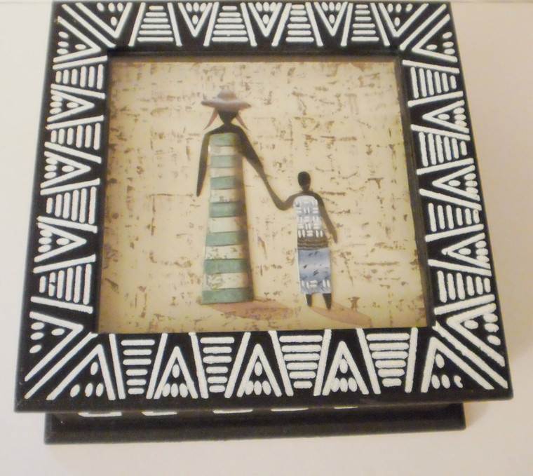 """African Decorative Shadow Box  ~Store jewelry and keepsakes, features inlaid African figurines.   ~Measurements: 8"""" x 8"""".   ~Interior: Black faux suede"""