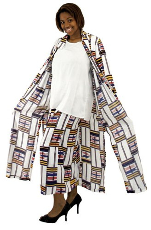 """White Kente Duster Skirt Set  100% rayon. Dry clean only. Made in Indonesia.  Large size fits up to a 47"""" bust, 26"""" shirt length, 34"""" waist, 39"""" skirt length. Jack is 52"""" long. 3X size fits up to a 56"""" bust, 26"""" shirt length, 42"""" waist, 39"""" skirt length. Jack is 52"""" long."""