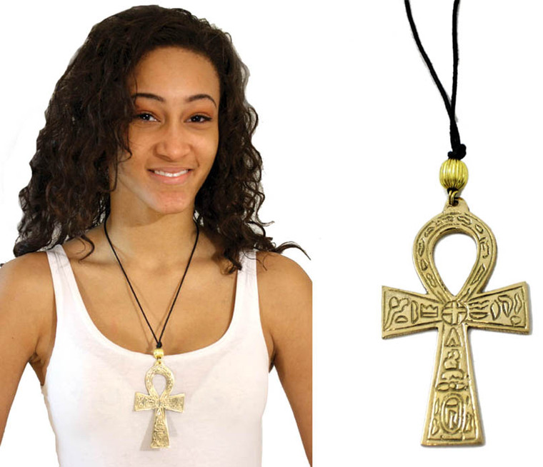 """Metal Ankh Necklaces  Black Nylon Cord necklace is adjustable up to 24"""" Length and Pendant is 3"""" long. Brass or Silver. Please note: Prints on these Ankh necklaces could vary from time to time."""