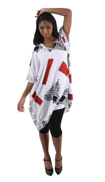 """Long tunic top in geometric patterns and symbols. One size fits up to 48"""" bust, 39"""" long. Made in China. 100% Polyester."""