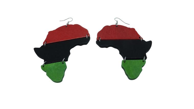 "3.5-4"" Africa Map Wooden Earrings...Wooden slat design."