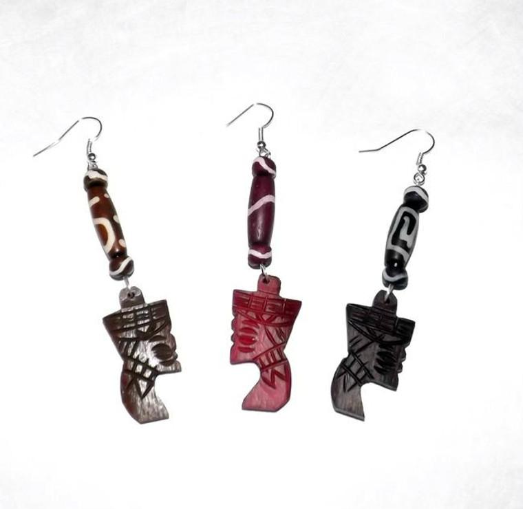 "3"" Nefertiti Bone Earrings, tube beads."