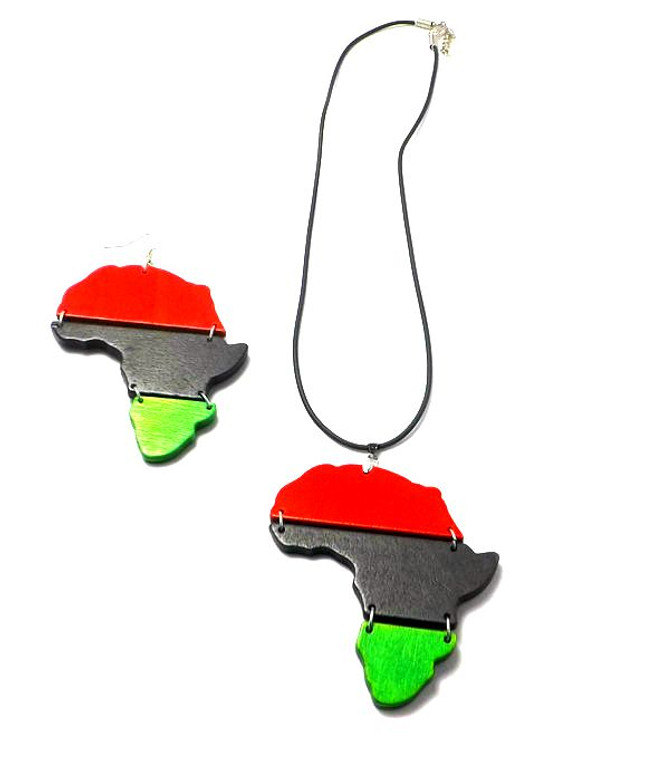 """Embrace your heritage with this Red, Black, & Green Africa Map Necklace & Earring Set.  Necklace is 12"""" with adjustable chain link. Pendant is 3"""", and earrings are 4"""""""