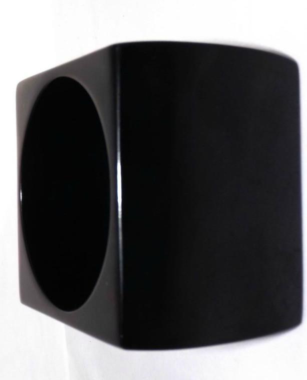 "Massive Black Cube Bangle Bracelet Gigantic runway sized vintage chunky black resin bangle bracelet. 3"" wide x 3"" length.  2 7/8"" opening."