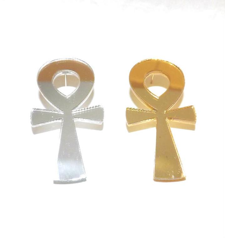 "2"" Acrylic Ankh Mirror Earrings"