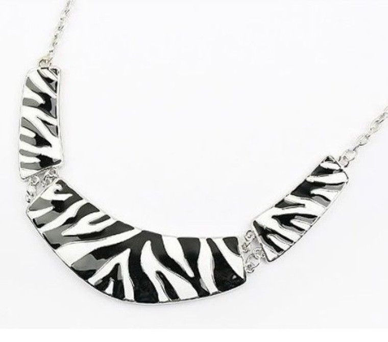 """Zebra Metal Choker Necklace  Adjusts to 14"""" in length.  Made in China"""