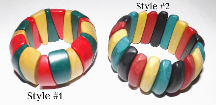 Chunky Rasta Stretch Bracelets  Large chunky rasta stretch bracelets. Made in Indonesia