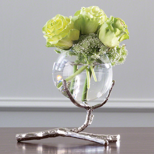 Branch Single Bowl Vase Nickel Sm.