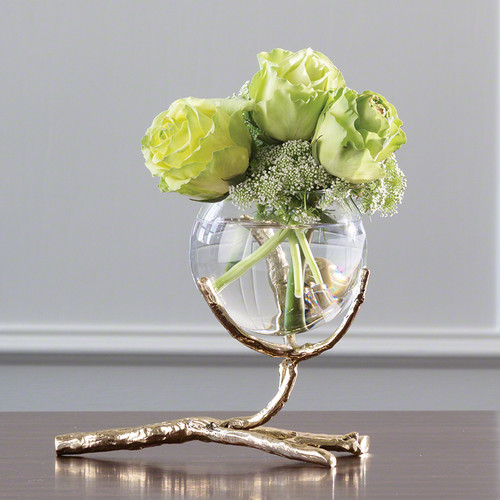 Branch Single Bowl Vase Brass Sm.