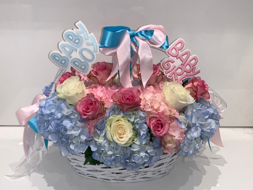 Baby Boy or Girl Gender Reveal Basket Arrangement