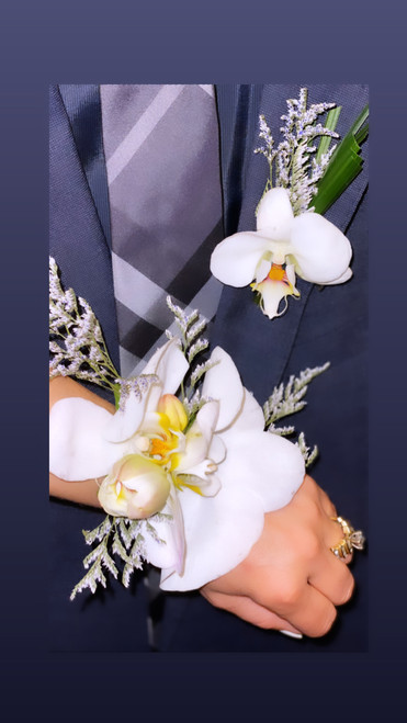 White Orchid Bout and Corsage Set