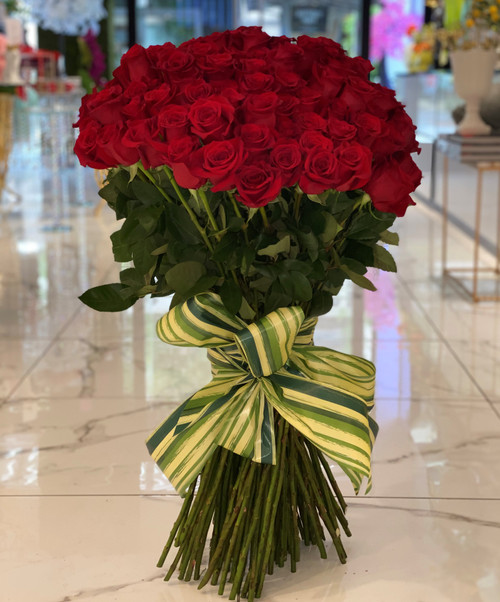 100 Long Stem Roses Standing Tall Bouquet