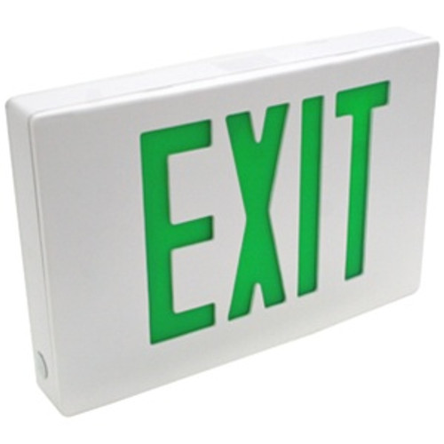 Die Cast Exit Sign Green Double Face AC Only White