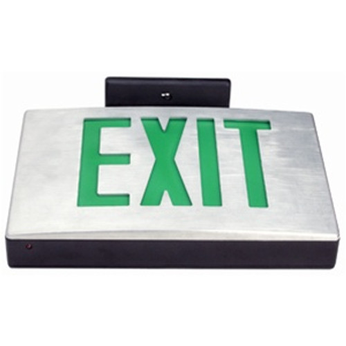 Die Cast Exit Sign Green Single Face Battery Backup