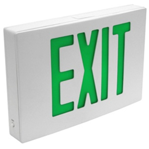 Die Cast Exit Sign GRN Single Face Battery Backup White