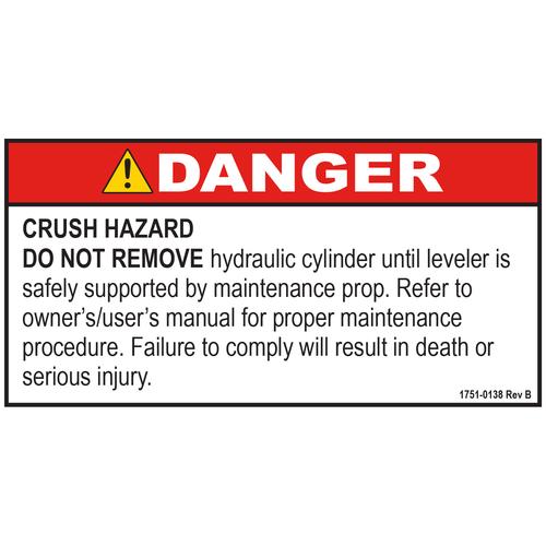 DECAL, DANGER, Hydraulic CYLINDER