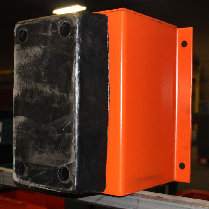 """BUMPER ASSEMBLY 18"""", COMPLETE, ORANGE/BLUE, HEAVY DUTY, 15"""" PROJECTION X 18"""" TALL"""
