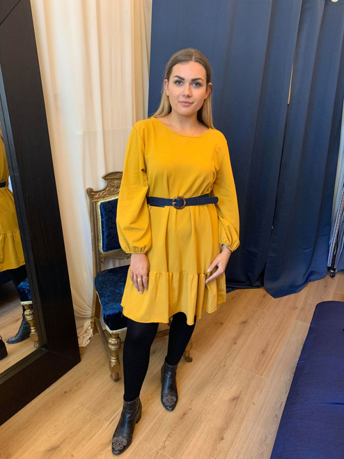 Amelia Mustard Loose Day Dress With Flared Hem and Scooped Back