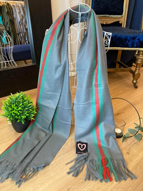 Classic Large Grey Tasselled Wool Scarf With Green Stripe Detailing