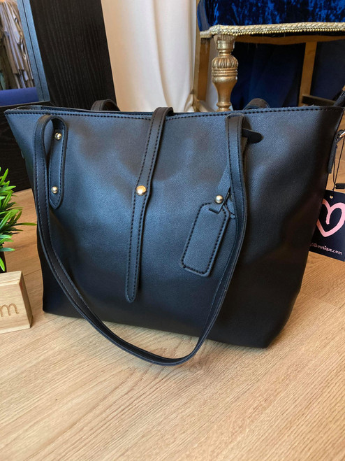 All Day Everyday Black Tote Bag With Pochette