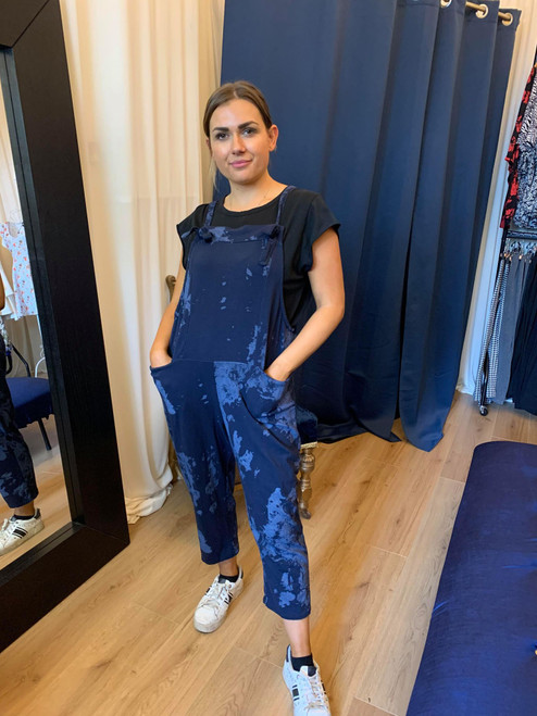In Your Dreams Navy Tie Dye Relaxed Dungarees