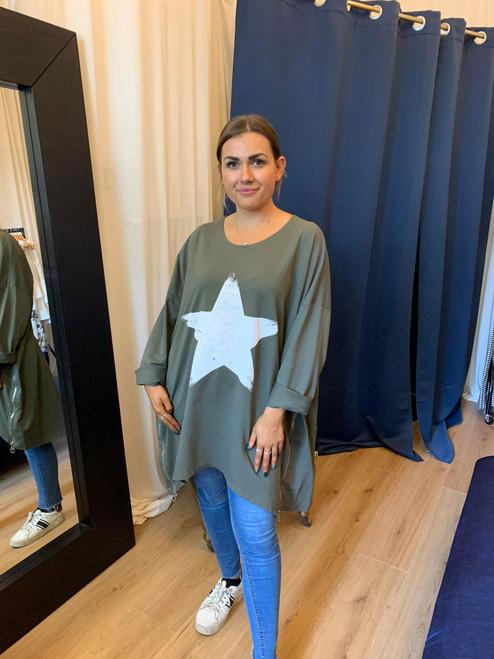 Paparazzi Khaki Oversized Star Print Zip Detail Sweater