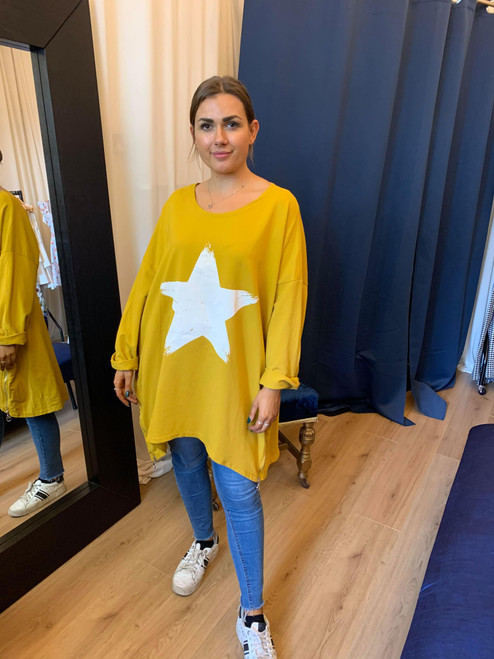 Paparazzi Mustard Oversized Star Print Zip Detail Sweater