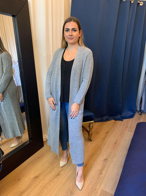 All Maxed Out - Grey Longline Knitted Maxi Cardigan