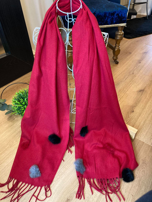 Essentials Red Pom Pom Large Scarf