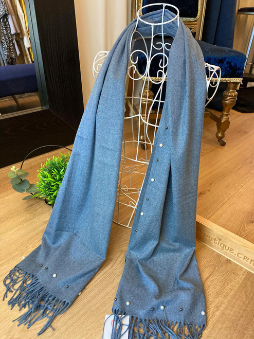 Mother Of Pearl Denim Blue Pearl Embroidered Tassel Large Scarf