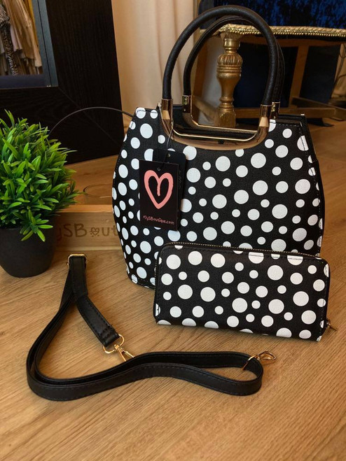 Dotty Dimples Black Polka Dot Bowler Bag and Purse Set
