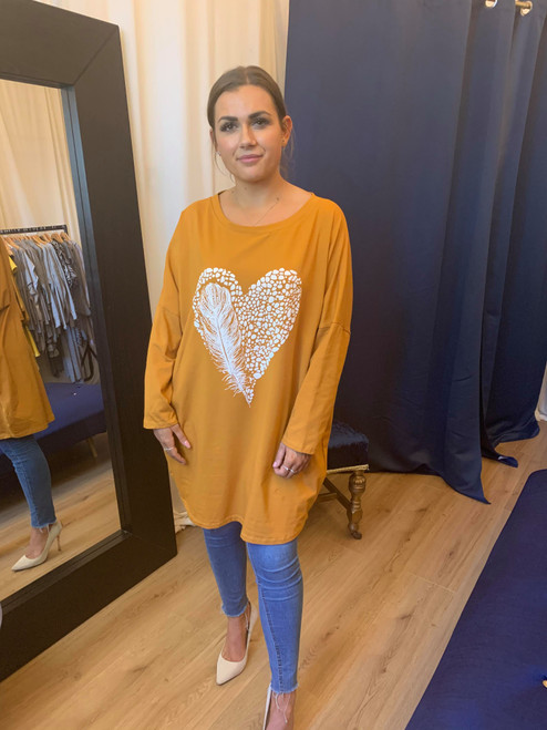 Light As A Feather Mustard Long Sleeved Feather Heart Print Top