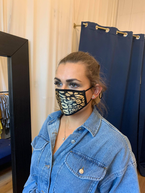 Reversible Black And Gold Leopard Print Face Mask