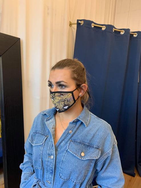Reversible Grey Abstract Snake Print Face Mask