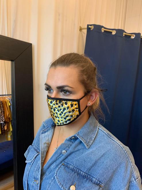 Reversible Yellow Cheetah Print Face Mask