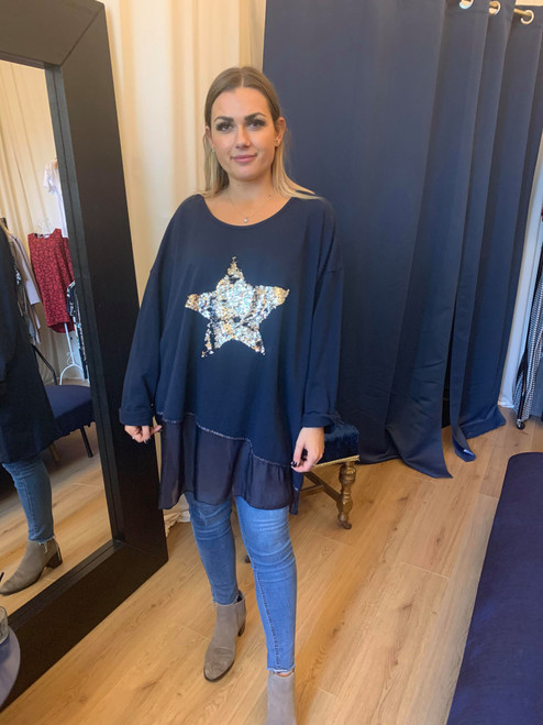 Neverland Navy Sequined Star 3/4 Sleeve Oversized Top With Organza Insert