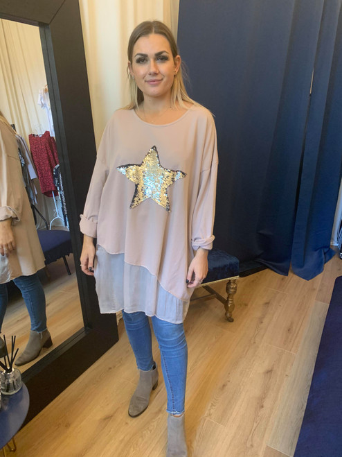 Neverland Dusky Pink Sequined Star 3/4 Sleeve Oversized Top With Organza Insert