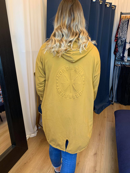 Mustard Norderny Embossed Hooded Jacket