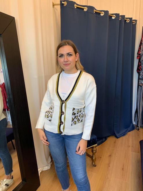 Clueless Cream Leopard Print Pocket Stripe Trim V-Neck Cardigan