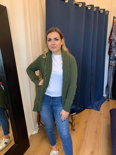 Mariella Khaki Chunky Knit Longline Cardigan