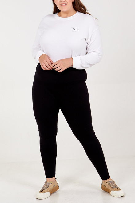 Curves 16+ Black Fleece Lined Leggings