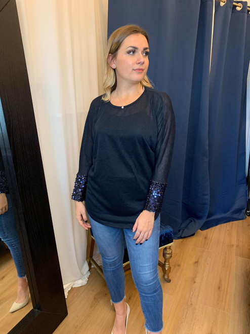 Eyes On Me Navy Long Sleeved Top With Silver Sequin Cuffs