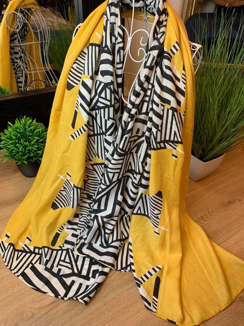 Designer Inspired Racing Stripes Mustard Abstract Zebra Print Scarf