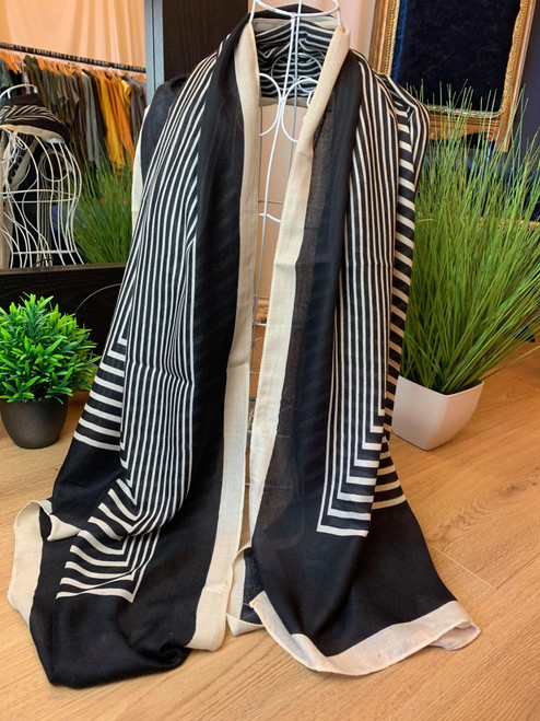Milano Black Scarf With Contemporary Charming Stripes