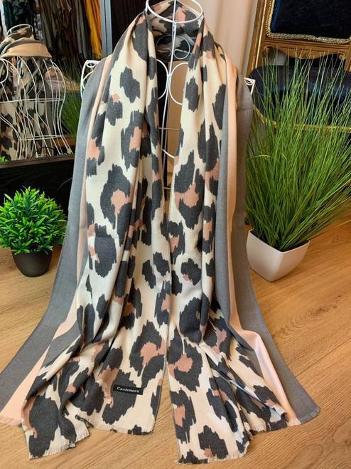 Feline Fine Grey Cashmere Leopard Print Scarf
