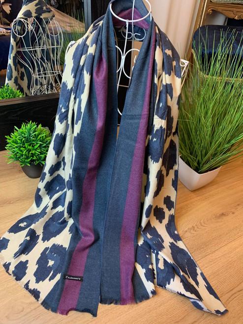 Feline Fine Purple Cashmere Leopard Print Scarf