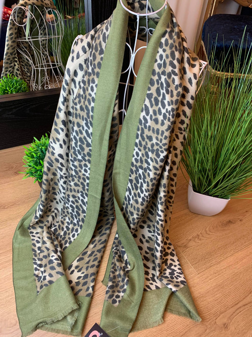 Cashmere Crush Khaki Leopard Print Large Scarf