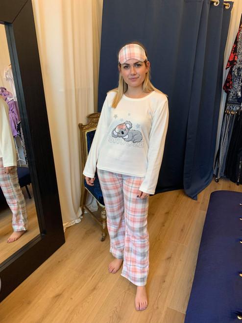 Cuddle Me Quick Koala Themed Cream And Pink Pyjama Set With Matching Eye Mask